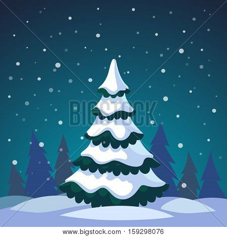 Christmas fir tree covered in snow standing in the night forest. Flat style isolated vector illustration.