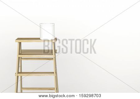 3D Rendering : Illustration Of Repair Ladder For Painter Of Wall Painting.decoration Your Home Conce