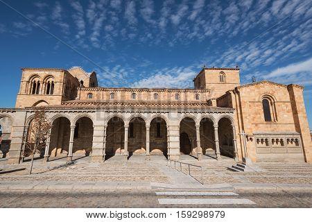 San Vicente basilica in Avila Spain on  sunny day.