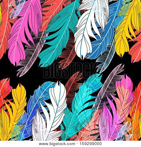 Background graphic design miracle multicolored feathers on a dark background