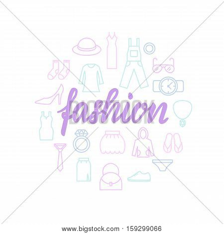 Fashion lettering with icons. Calligraphy font, abstract illustration