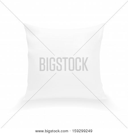 Blank White Square Pillow. Clean Cushion. EPS10 Vector