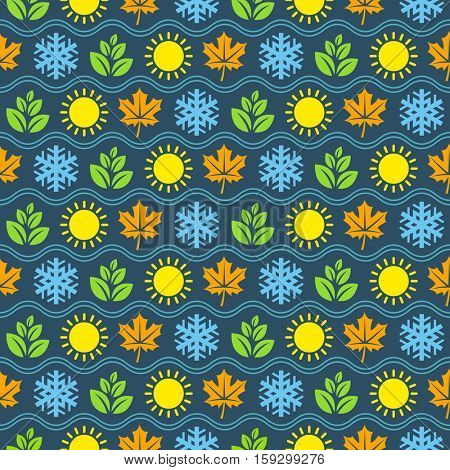 Seamless wallpaper pattern with seasons icons