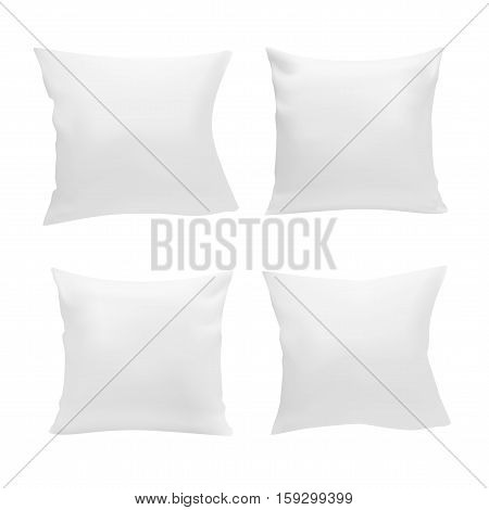 Blank White Square Pillow Set. Gray Cushion. EPS10 Vector