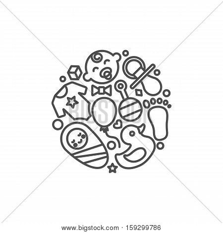 Babyhood abstract vector illustration, modern line style