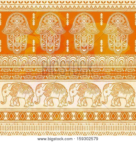 Pattern with elephant and hamsa. Beautiful ornament