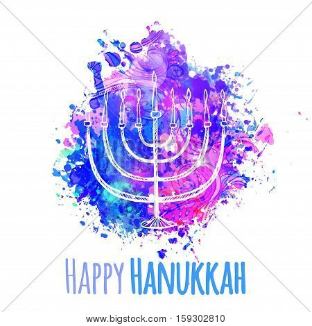Happy Jewish holiday Hanukkah, greeting card. Vector illustration