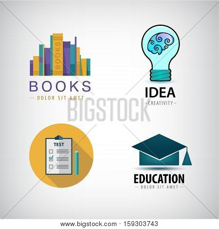 Vector set of education logos books, test, square academic cap, lamp bulb idea icons isolated. Science
