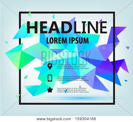 Vector Poster, Banner, Flyer, Cover, Brochure Template design. Modern crystal faceted 3d shape with text space and square