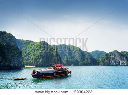 Tourist Boat In The Ha Long Bay. The South China Sea, Vietnam