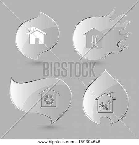 4 images: workshop, protection of nature, home reading. Home set. Glass buttons on gray background. Fire theme. Vector icons.