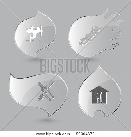 4 images: clamp, cycle spanner, screwdriver and combination pliers, workshop. Industrial tools set. Glass buttons on gray background. Fire theme. Vector icons.