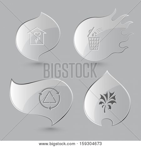 4 images: flower shop, bin, recycle symbol, plant. Nature set. Glass buttons on gray background. Fire theme. Vector icons.