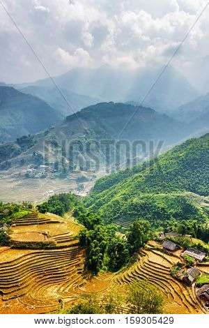 Top View Of Village Houses And Rice Terraces. Sa Pa, Vietnam