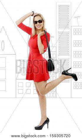 full figure of middle aged blond woman in short red dress