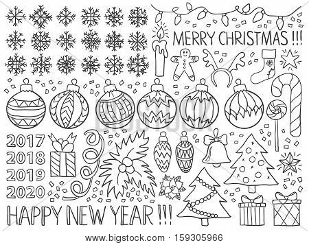 Christmas New Year Doodles Winter Holiday Black White