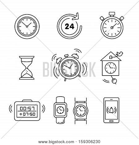 Types of alarms clocks, timers and watches set. Thin line art icons. Linear style illustrations isolated on white.