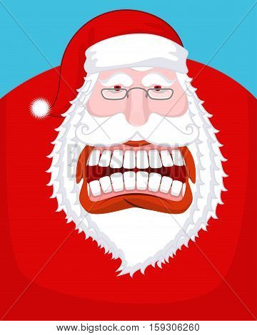 Santa Claus Wild Grin. Aggressive Old Man. Open Your Mouth And Teeth. Scary Grandfather Yelling. Xma