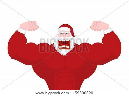 Santa Claus Fitness. Powerful Old Man With Big Muscles. Strong Christmas Man. Sport New Year. Bodybu