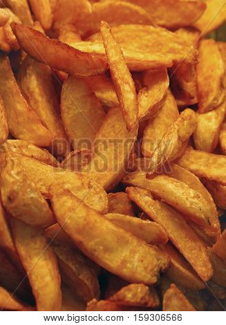 Deep Fried Or Baked Potato Wedges Close Up
