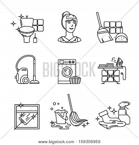 Home cleaning, washing and tidying signs set. Thin line art icons. Linear style illustrations isolated on white.