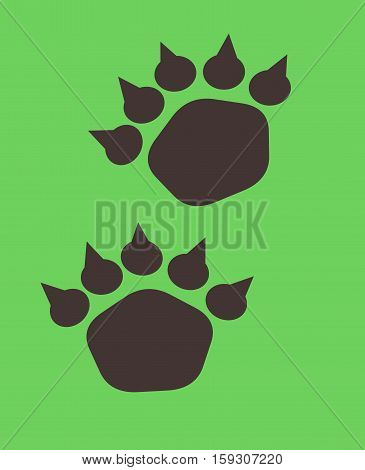 Illustration of bear footstep. Bear trace on a green background