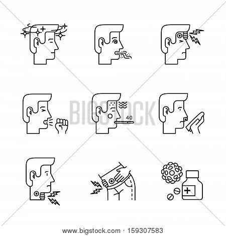 Human illness and diseases symptoms signs set. Ill man avatars. Thin line art icons. Linear style illustrations isolated on white.