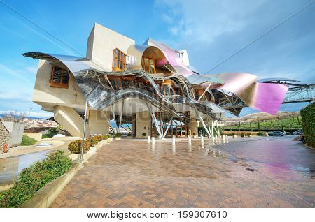 El ciego Spain- January 10 2014: Winery of Marques de  on January 10 2014 in Elciego Basque Country Spain. This modern winery was designed by world famous architect Frank Gehry. Produce one of the best wine of the world.