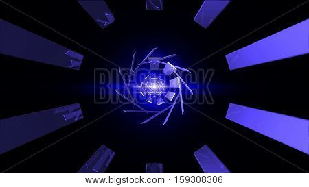 Abstract technology tunnel. Blue element with flares