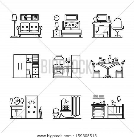 Home room types furniture signs set. Thin line art icons. Linear style illustrations isolated on white.