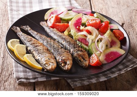 Mediterranean Food: Grilled Sardines With Fresh Vegetable Salad Close-up. Horizontal