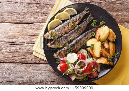 Grilled Sardines With Roasted Potatoes And Fresh Vegetable Salad Close-up. Horizontal Top View