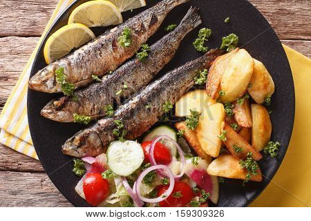 Fried Sardines With Roasted Potatoes And Fresh Salad Closeup. Horizontal Top View