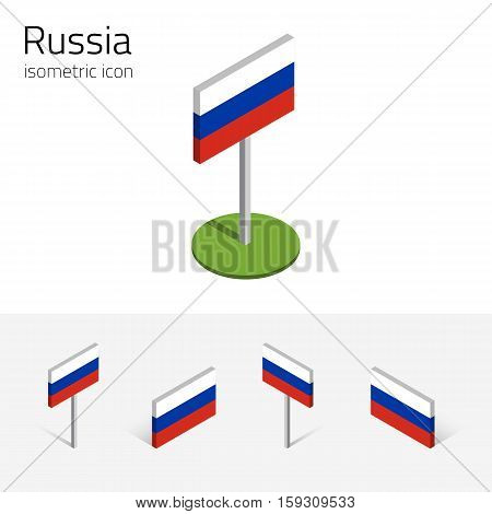 Russia flag (Russian Federation) vector set of isometric flat icons 3D style different views. Editable design elements for banner website presentation infographic poster map card. Eps 10