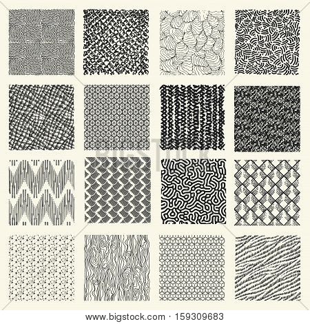 Set Of Hand Drawn Marker And Ink Patterns