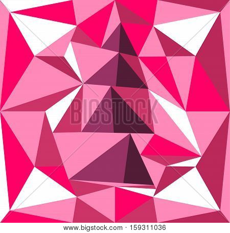 Volume tree illustration of prisms. Pink and purple background.