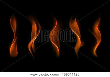 Vector Set of  Different Yellow Orange Fire Flame on Background