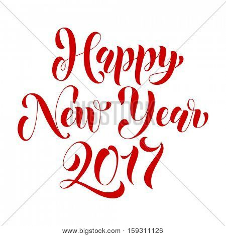 Happy New Year 2017 vector creative typography for holiday greeting card. Text calligraphy lettering design for greeting card or poster template. Calligraphic style font for New Year banner