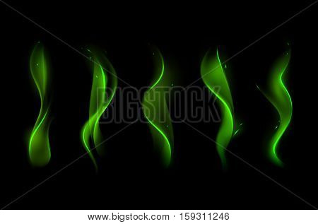Vector Set of  Different Magic Green Fire Flame on Background