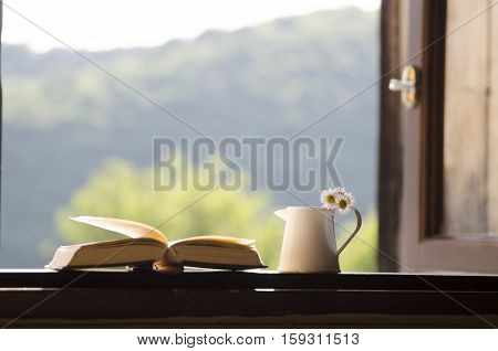 Wooden windowsill - book and flowers. Wooden windowsill, book and flowers.
