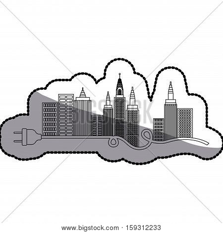 Ctiy building and plug icon. Architecture urban modern and metropolis theme. Isolated design. Vector illustration