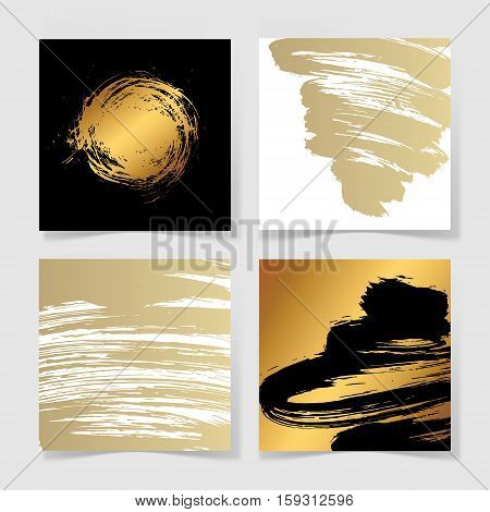 set of four black and gold ink brushes grunge square pattern, hand drawing background collection for your design, brush strokes element vector illustration
