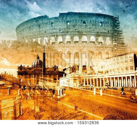Italy Rome Great Colloseum Vatican colage grunge