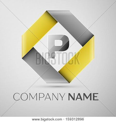 Letter P vector logo symbol in the colorful rhombus. Vector template for your design