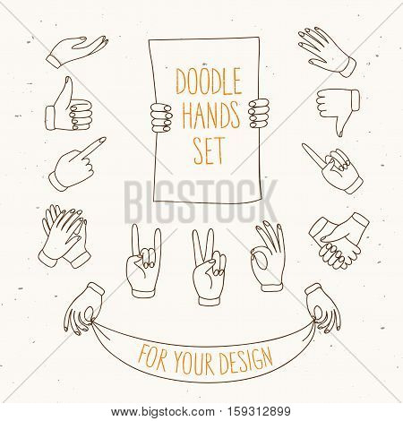 Set of doodle hands showing different signs such as pointing like dislike victory holding labels. Hand drawn vector cartoon illustration for your design.