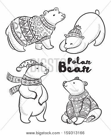 Outline set of Polar bears in sweater, scarf and hat with ornaments. Cute characters for Christmas. Vector set. Coloring book page