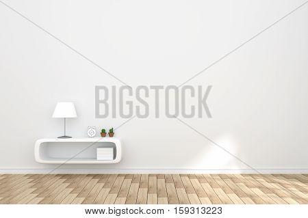 3D Rendering : Illustration Of Cozy Living-room Interior With White Book Shelf Against Matt White Wa