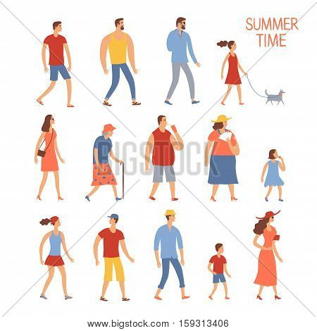 Set of cartoon people in summer clothes. Including various lifestyles and ages like businessman man woman teenagers children seniors couple. Characters illustrations for your design.