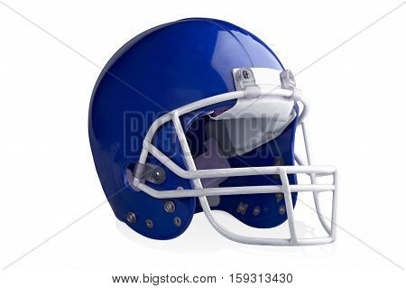 Blue football helmet isolated on a white background.