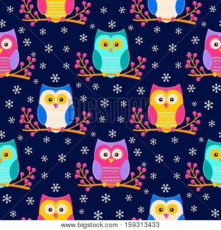 Cute flat owls sitting on a brunch with berries. Vector seamless pattern with hand drawn flat birds. Winter color owls with white doodle ornament. Nice background for kids. Bright elements on dark blue backdrop.
